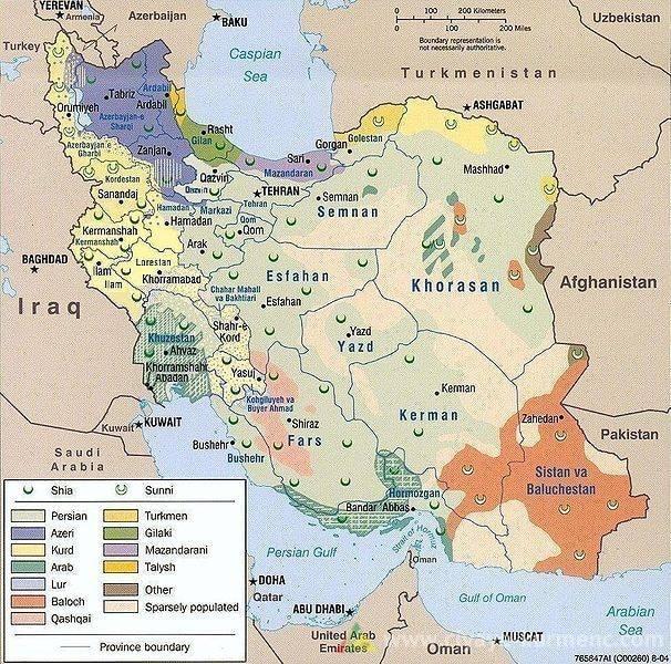 iran eyaletler türkmen kürt fars